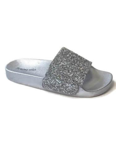 Ladies Glitter Diamante Sparkly Silver Sliders