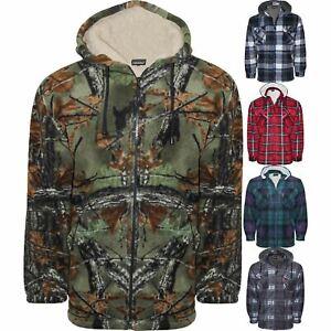 Mens-Fleece-Lined-Hoodie-Camouflage-Sherpa-Jungle-Print-Hunting-Hooded-Jacket