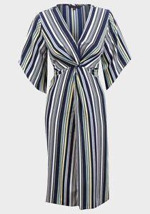 Ladies-Multi-Stripe-V-Neck-Midi-Dress-UK-16-BNWOT-Ex-Peacocks