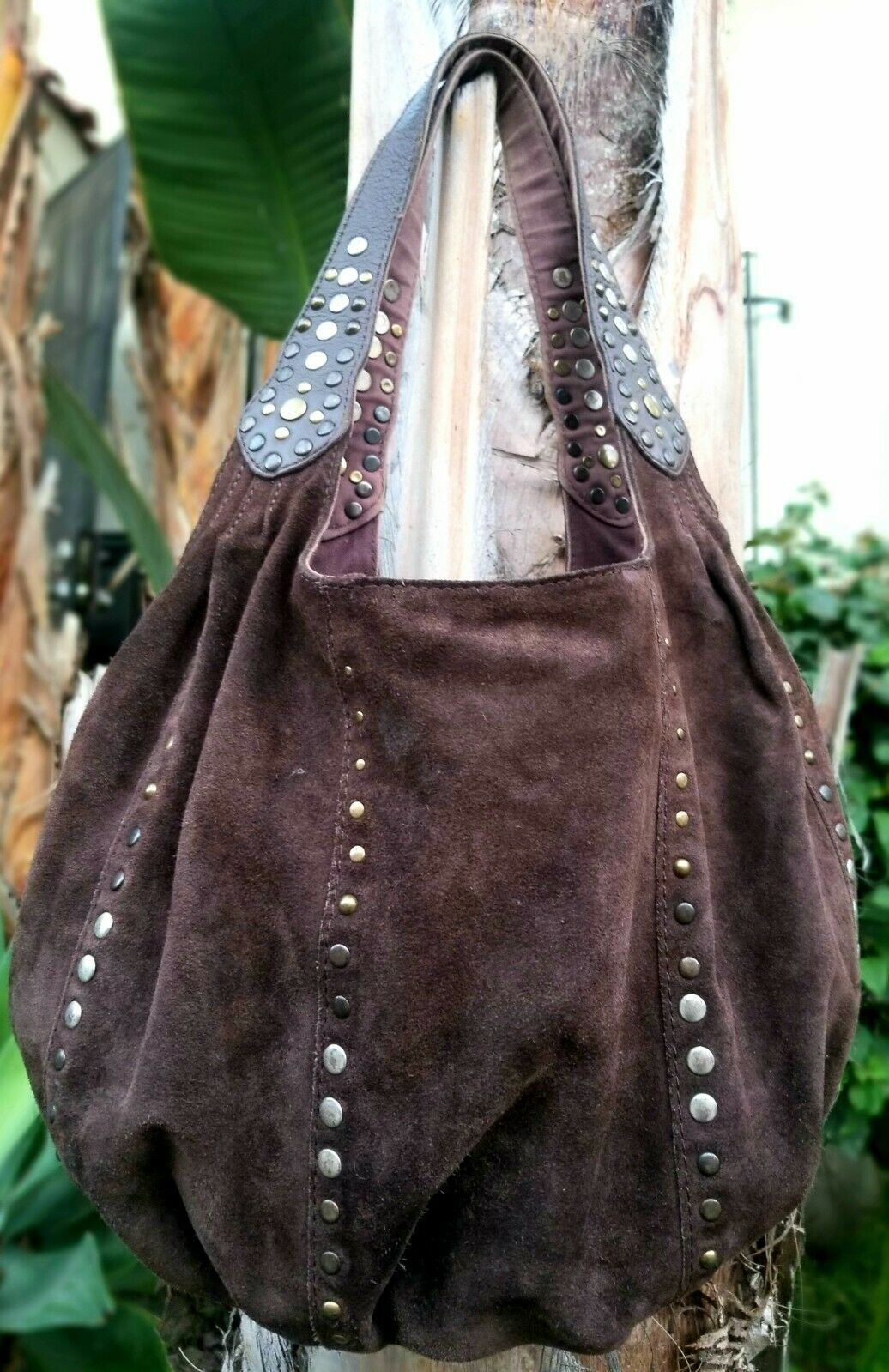 LUCKY BRAND Large Brown Leather Rounded Hobo Shoulder Carryall Studded Hobo Bag - C'mon » TikTokJa Video Downloader