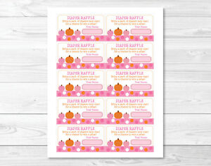 Details About Pink Pumpkin Fall Harvest Printable Baby Shower Diaper Raffle Tickets