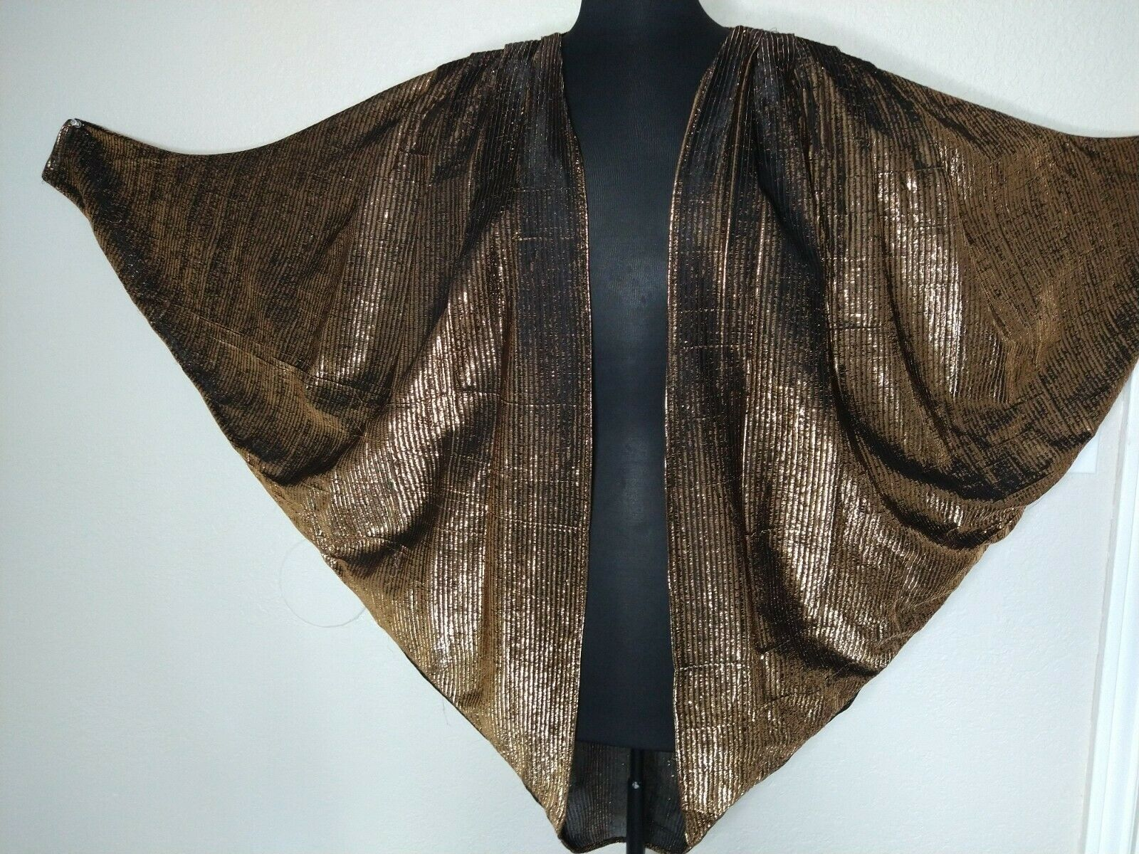 ❤️Lame copper Gold Vtg Batwing Cocoon Dolmon Cape