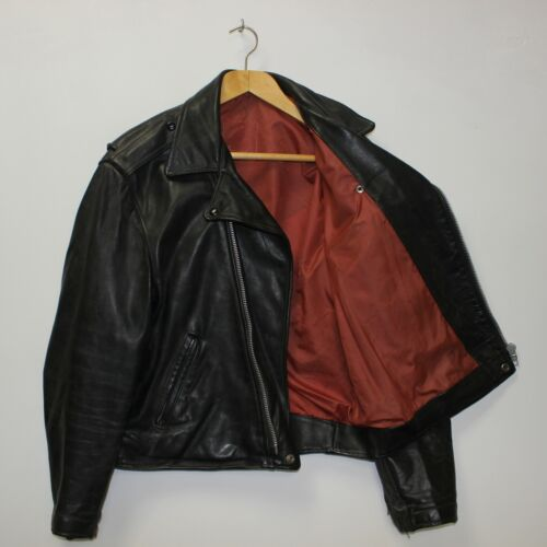 Vintage Leather Classic Motorcycle Jacket Red Burg