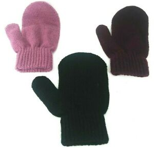 3-PACK-Kids-Gloves-Stretchy-Knit-Mitten-Winter-Boys-Girls-Children-Color-AGE-3-9