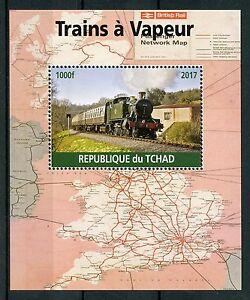 Chad-2017-Gomma-integra-non-linguellato-treni-a-vapore-MOTORI-1v-M-S-Ferrovie-Ferrovia-FRANCOBOLLI