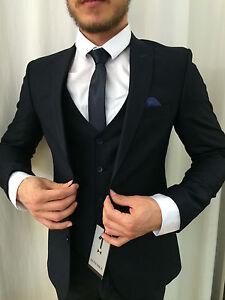 58e3e5cbcdc7 Dark Blue Designer Suit Set Vest Fitted Slim Fit Matching Shirt | eBay