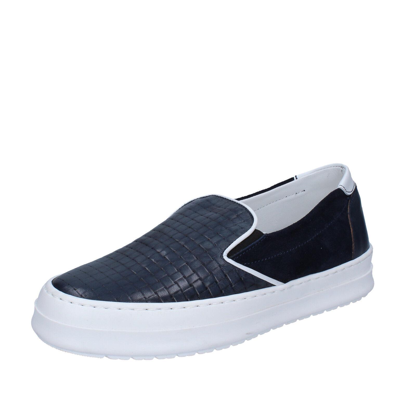 Scarpe casual da uomo  Scarpe uomo FDF shoes 42 UE Mocassini Slip-on blu pelle camoscio bz341-c