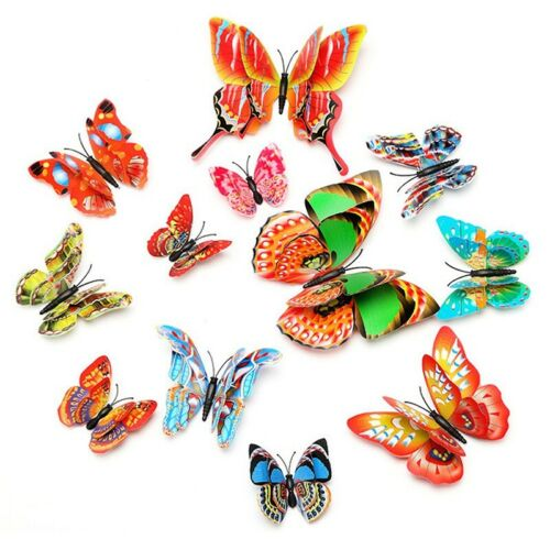 12pcs Wall Stickers Art Decals 3D Double Layer Butterfly Room Creative Decor