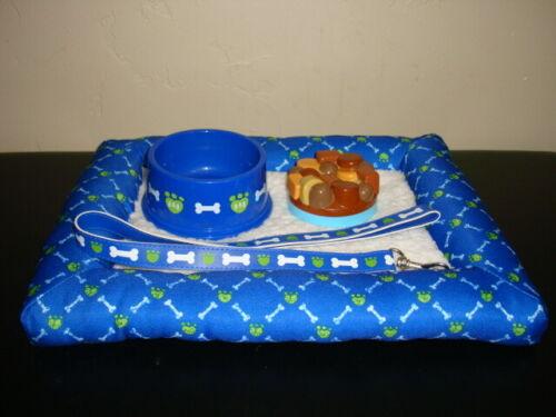 Build A Bear Blue Green Bone Dog Bed Mat Dish Food Leash Collar Plush Lot Set