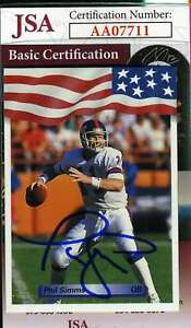 Phil-Simms-1992-Giants-Jsa-Coa-Hand-Signed-Authentic-Autograph