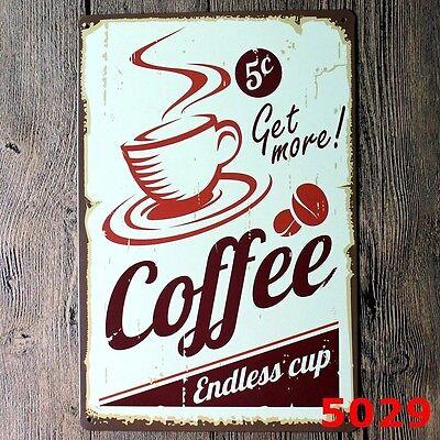 Metal Tin Sign flat white coffee Pub Bar Home Vintage Retro Poster Cafe ART