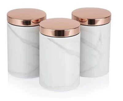 Tower Stylish Kitchen Accessories Set Rose Gold Black Linear Bread Bin And Of 3 Canisters