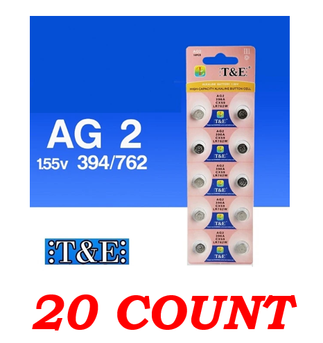 T&E AG2 396A CX59 LR726W 1.55V Alkaline Battery, 20 Ct.