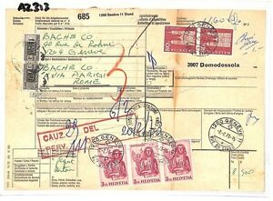 Consciencieux Az313 1973 Suisse Valeurs élevées Genève * Assurés Mail * Carte De L'italie Pts