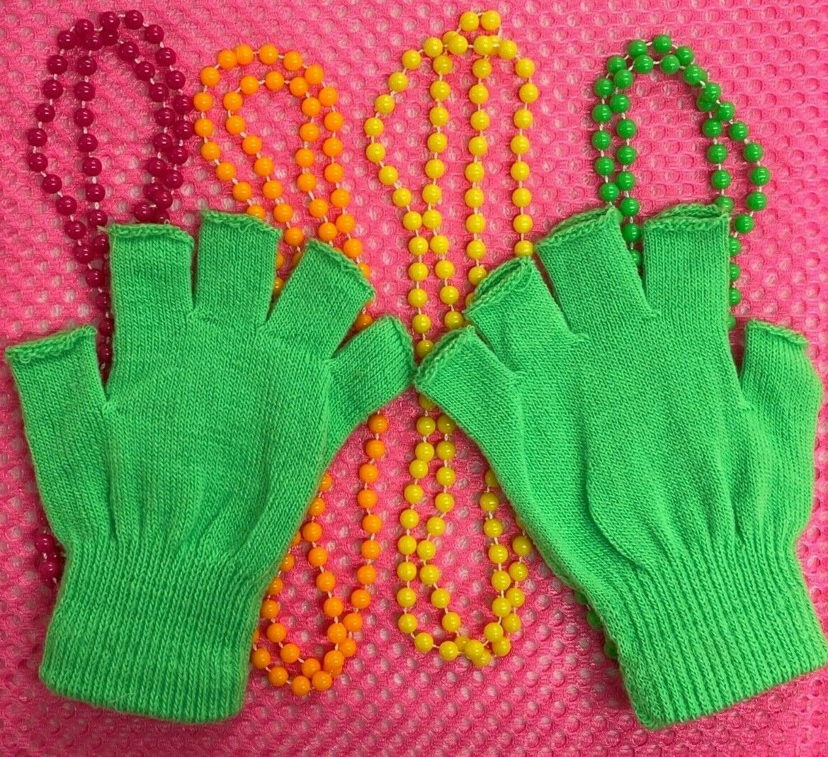 Ladies Womens Magic Stretch Fingerless No Finger Neon UV Green Rave Party Gloves