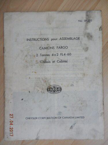 instructions pour assemblage camions fargo 2 T 4x2 FL4-60