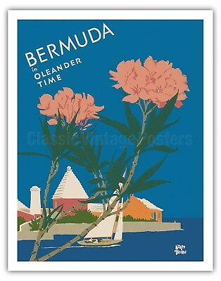 16x24 Bermuda by Night 1930s Bicycle Vintage Style Travel Poster