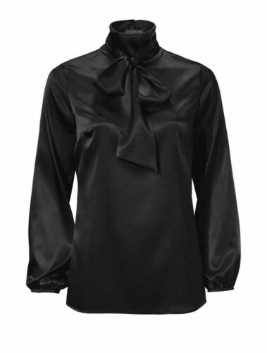Patrizia Dini Damen Designer-Seidenbluse mit Schluppe schwarz