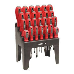 Great Working Tools 26 Piece Screwdriver Set - Magnetic Steel Tip Blades & Rack