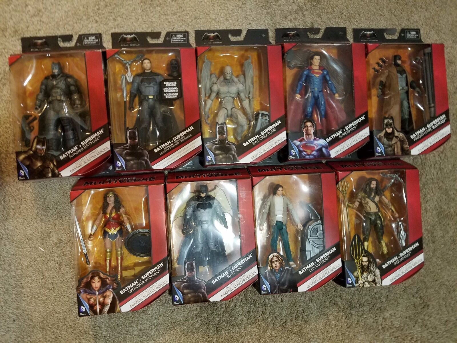 DC MULTIVERSE BATMAN vs SUPERMAN Complete Lot of 9 Includes Unmasked Batman