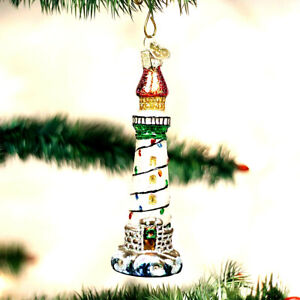 CHRISTMAS-NAUTICAL-LIGHTHOUSE-ORNAMENT-BY-OLD-WORLD-CHRISTMAS-GLASS-BEAUTIFUL