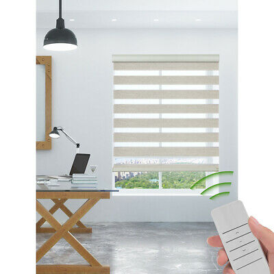 Motorized Zebra Blinds Sheer Roller Shade Waterproof Window Treatment Blue