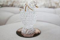 Vintage Hand Blown Glass Swan with Gold Trim Decor Figurine Gift Ideas Handmade