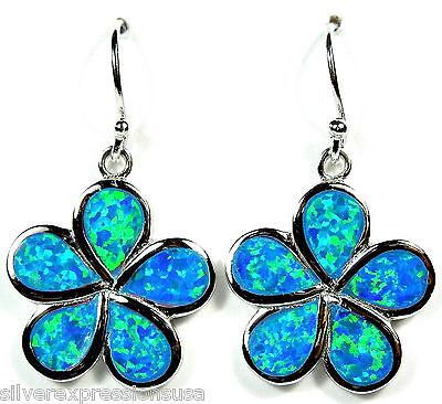 Blue Fire Opal Inlay Genuine 925 Sterling Silver Plumeria Flower Dangle Earrings