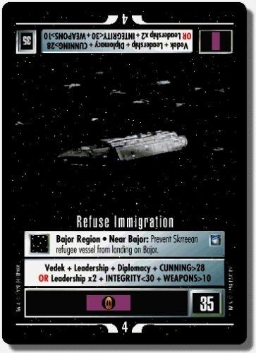 Star Trek CCG DS9 Deep Space 9 Refuse Immigration