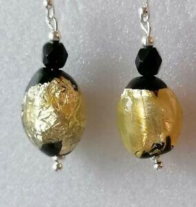 Art-Deco-Gold-Foil-Black-Glass-Bead-925-Sterling-Silver-Drop-Dangle-Earrings