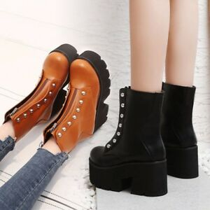 Details about  /Womens Fashion Punk Studs Zippers Platform Chunky Heel Ankle Boots Shoes gqcm