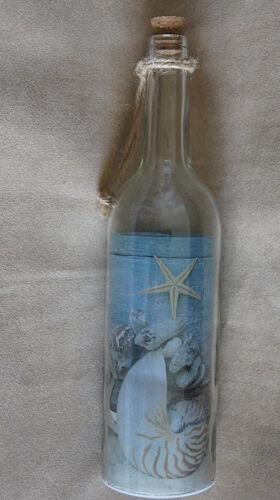 LED Glasflasche Dekoleuchte Lampe maritim Dekoration beleuchtet Muschel Sand