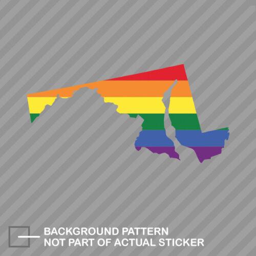 Maryland State Shaped Gay Pride Rainbow Flag Sticker Decal Vinyl LGBT MD