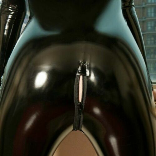 Damen Kunstleder Trikot Lack-Optik Reißverschluss Schrittloser Overall Catsuit
