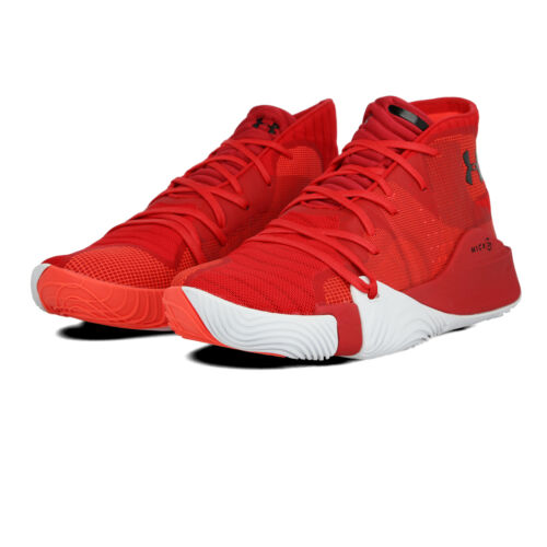 Under Armour Mens Spawn Mid Basketball Shoes Red Sports Breathable Lightweight