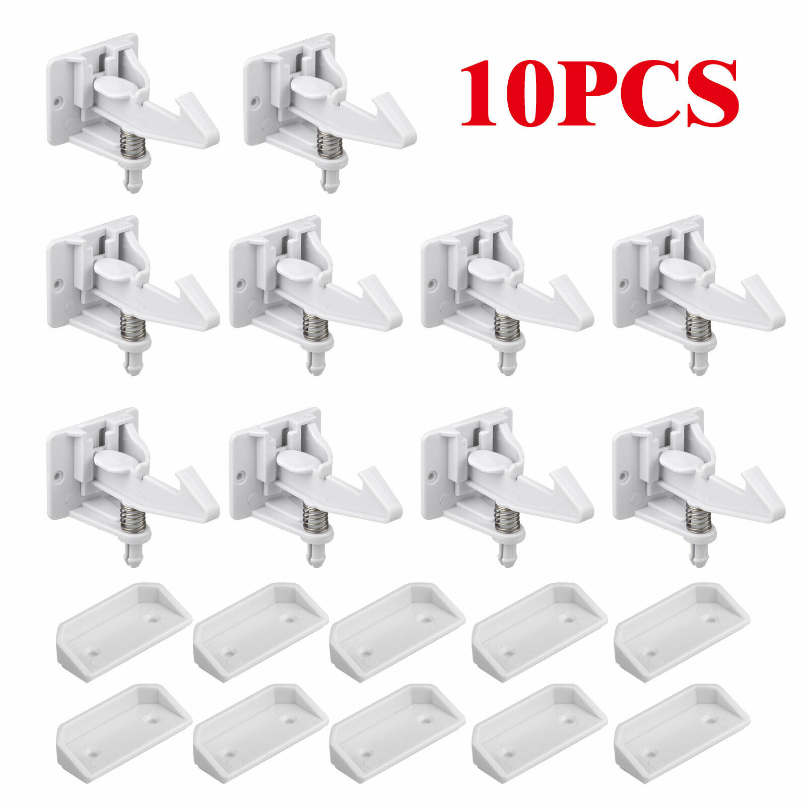 10pcs Cabinet Locks Lock Child Safety Latches Quick Easy Adhesive Baby Proofing 10