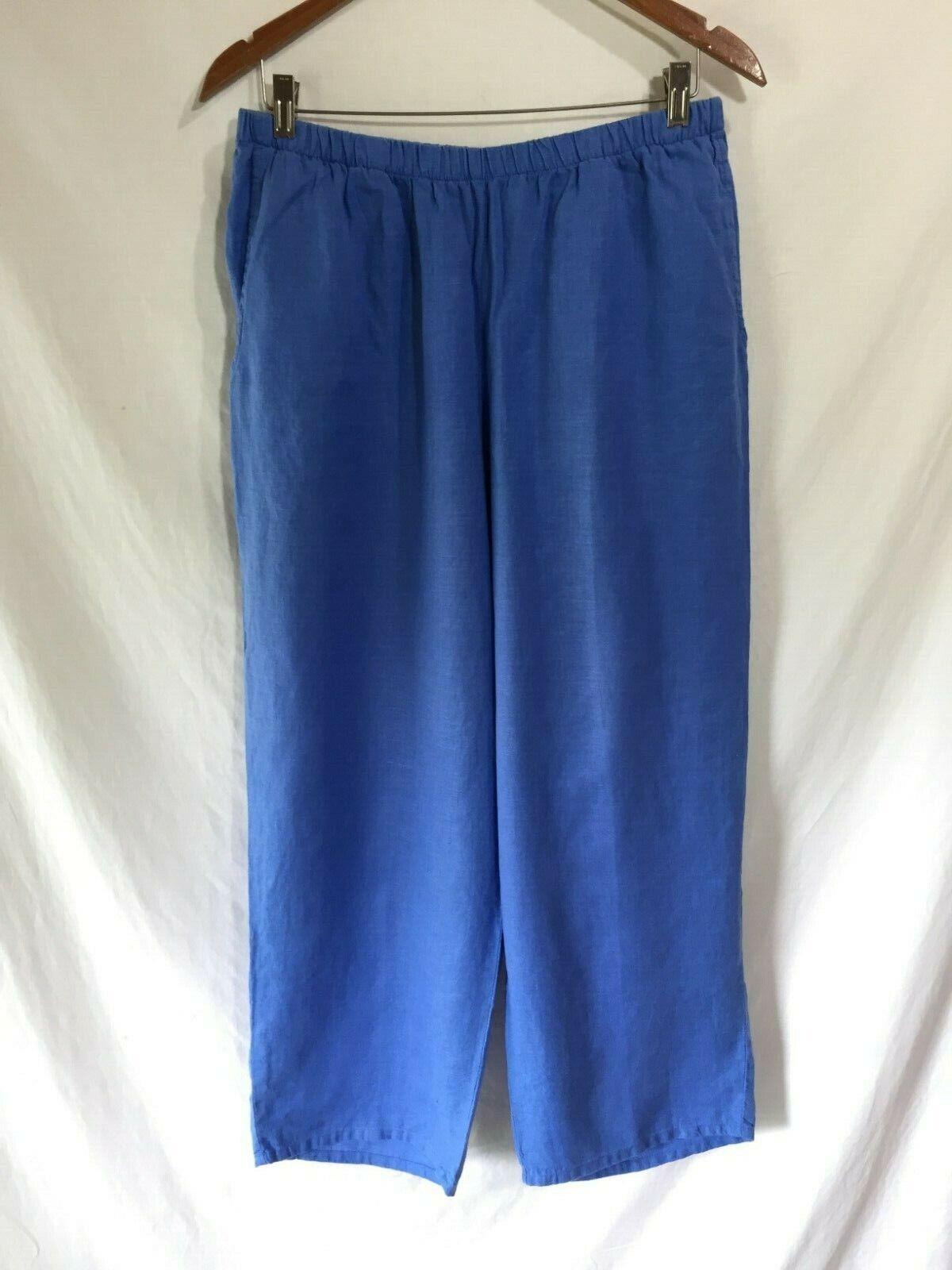FLAX Jeanne Engelhart Cute Wide Leg Ankle Length Bright Blau Linen Beach Pants M