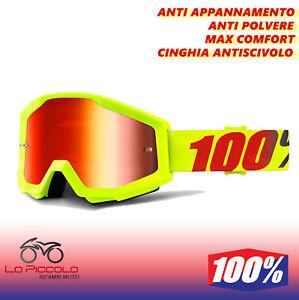 Verkleidung-Brille-100-Strata-Off-Road-Cross-Gelb-Fluo-Mercury-Objektiv-Spiegel