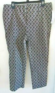 Women-039-s-Capri-Pants-Black-White-Patterned-Stretch-Summer-XL-Lightweight-NWT
