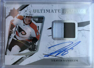 2017-18-UD-ULTIMATE-TRAVIS-SANHEIM-RC-ROOKIE-JERSEY-PATCH-AUTO-49-83