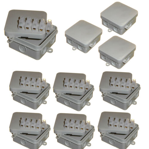 10 x étanche PVC Outdoor Junction Box 65 x 65 x 30 mm 15 AMP CONNECTEURS