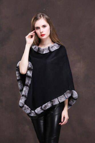 Elegant Rex Pashm Fashion Bedste Sort Omslag Frakke Poncho Kanin Cloak Cape dqqwI