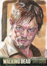 Walking Dead Season Three Part One Sketch Card by Marcia Dye of Daryl