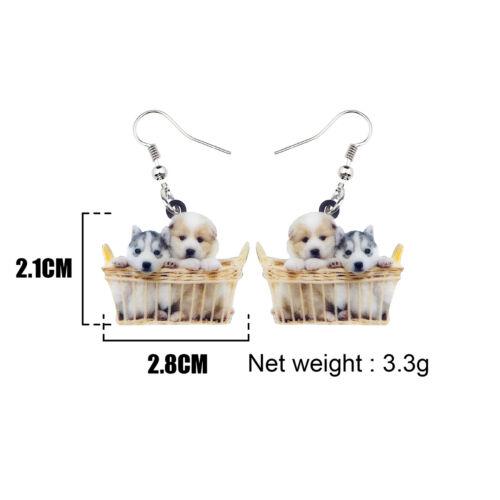 Acrylic Basket Husky Shih Tzu Puppy Dog Earrings Animal Jewelry For Women Charms