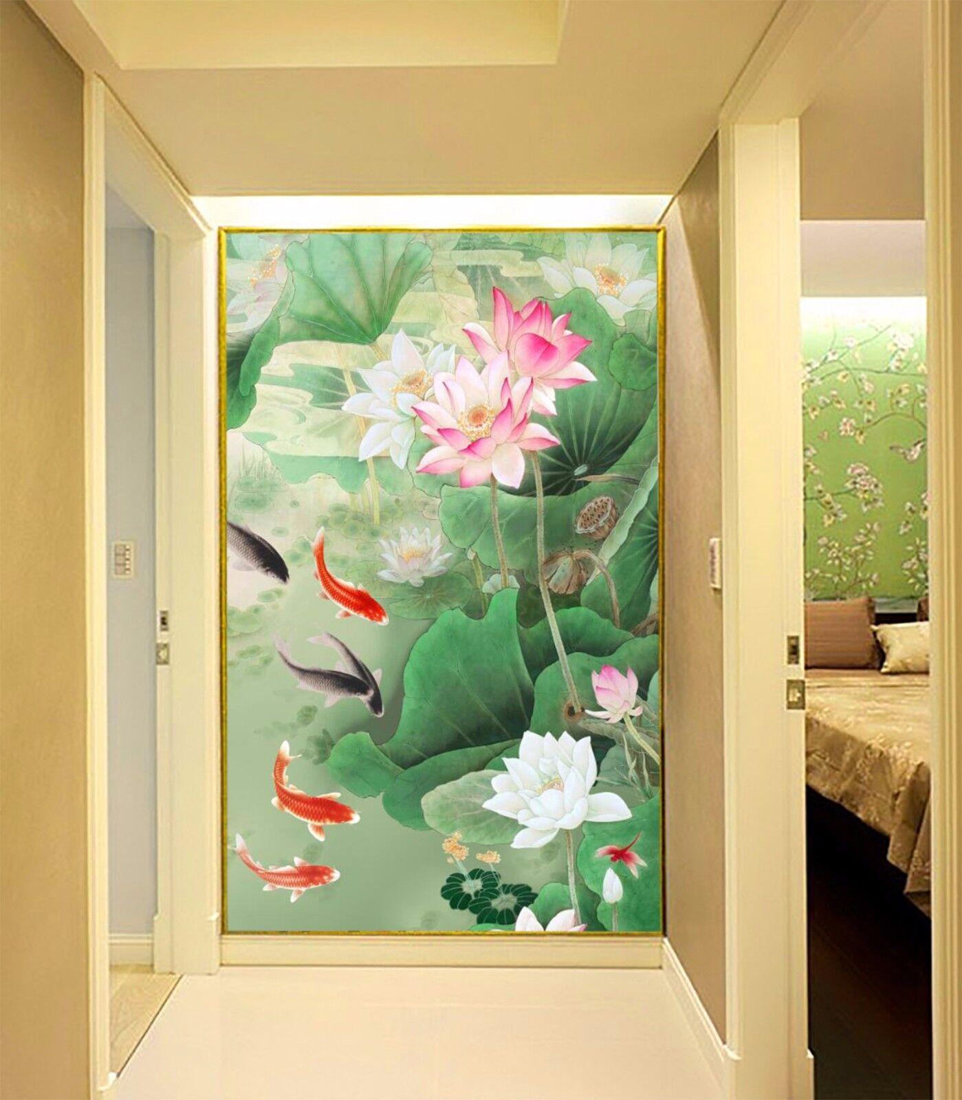 3D Lotus fish 2433 Wall Paper Wall Print Decal Wall Deco Indoor Wall Murals