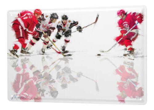 Tôle Bouclier Nostalgie Joueur de hockey sur glace