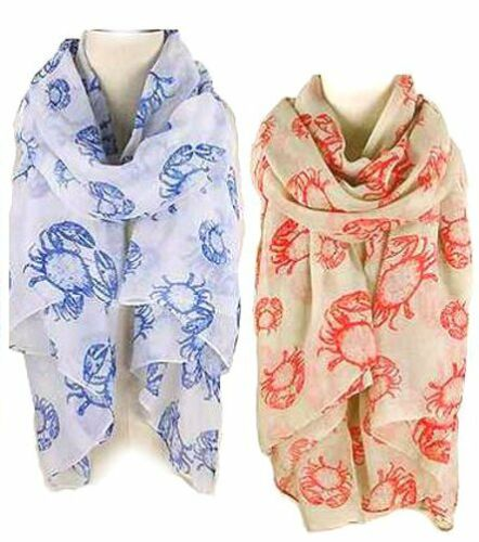 Sea Life series Oblong Scarf 6 each of 2 colors CRAB Lot of 12