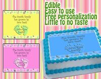 Edible Cake Topper Baby Shower Tops Image Picture Sugar Paper Boy Girl Frosting