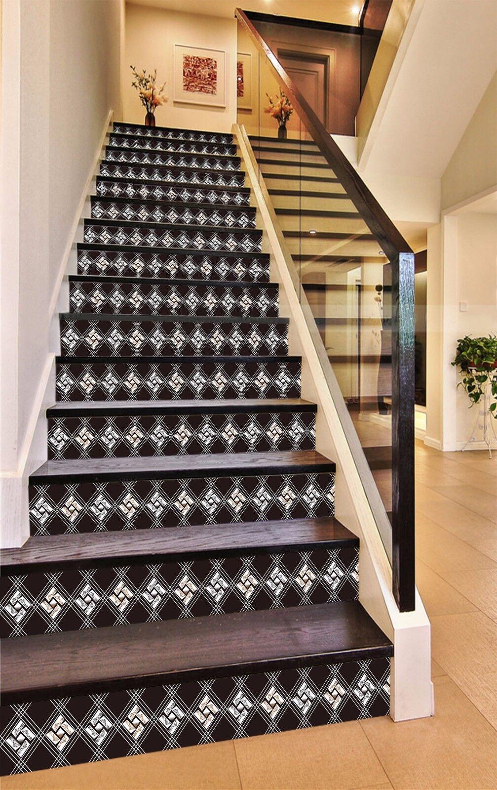 3D Gitter 447 Stair Risers Dekoration Fototapete Vinyl Aufkleber Tapete DE Lemon