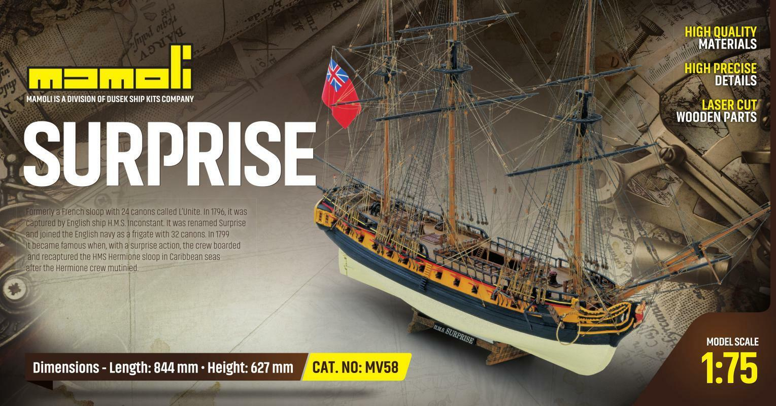 Mamoli HMS Surprise British Frigate 1 75 MV58 Model Boat Kit